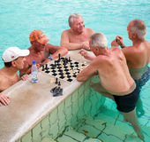 Seniors playing chess at Szechenyi thermal bath in Budapest, Hun Royalty Free Stock Photos