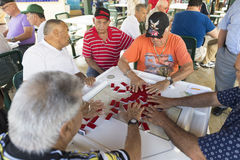 Seniors playing dominoes,Miami, Florida, United States Stock Image