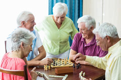 Seniors playing games Stock Images