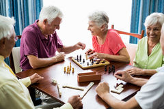 Seniors playing games Royalty Free Stock Photography