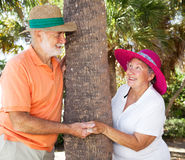 Seniors Playing Peekaboo Royalty Free Stock Photography
