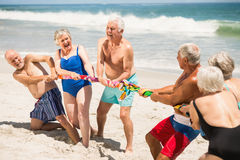 Seniors playing tug of war at the beach Royalty Free Stock Photos