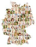 Seniors portrait collage on Germany map. Senior citizen portrait collage on Germany map as concept for age, society, pension and community stock photo