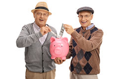 Seniors putting money in a piggybank and looking at the camera Stock Images