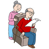 Seniors Reading Document Royalty Free Stock Images