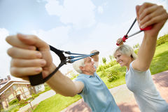 Seniors with resistance bands Royalty Free Stock Image