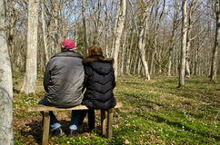 Seniors resting. In forest with blossom wood anemones Stock Image