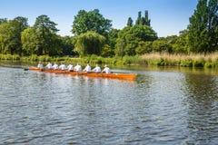 Seniors rowing team. Hamburg, Germany - June 6, 2016 - Seniors rowing team on Alster lake royalty free stock photo