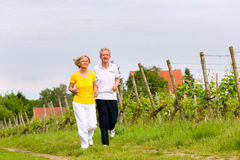 Seniors running in the nature doing sport Stock Photography