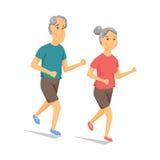 Seniors running and smiling Stock Photo