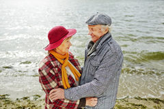 Seniors by seaside Stock Photography