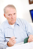 Seniors: Senior Man Tired Of Paying Bills Royalty Free Stock Photo