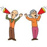 Seniors Shouting Through Bullhorns Stock Images