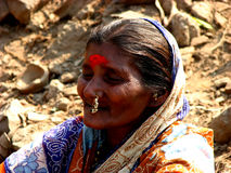 Seniors Smile. An old Indian woman smiles Royalty Free Stock Image