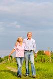Seniors in summer walking hand in hand Royalty Free Stock Photo