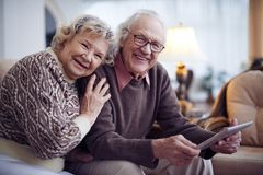 Seniors in sweaters Royalty Free Stock Photos