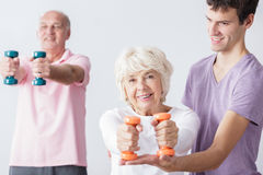 Seniors take care about health. Photo of happy seniors take care about physical health stock photo