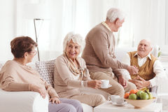 Seniors talking and drinking coffee. Group of seniors talking and drinking coffee Royalty Free Stock Photo
