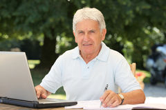 Seniors and technology Royalty Free Stock Photos