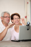 Seniors and technology Royalty Free Stock Images