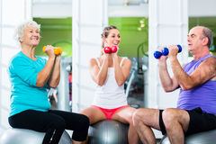Seniors with trainer in gym at sport lifting barbell. Senior men and women with fitness trainer in gym lifting barbells as sport exercise Stock Images