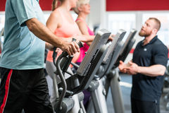 Seniors training on cross trainer with personal trainer at the g Royalty Free Stock Photo