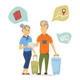 Seniors travel and use tablet Royalty Free Stock Image