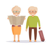 Seniors travelers. Isolated art. Seniors travelers. Woman holding map in her hands, man with suitcase. Isolated art on blue background. Vector. Cartoon. Flat Royalty Free Stock Photography