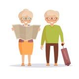 Seniors travelers. Isolated art Royalty Free Stock Photography