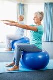 Seniors using exercise ball Stock Photography