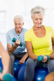 Seniors using exercise ball and weights Stock Images