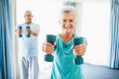 Seniors using weights Stock Image