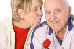 Seniors valentines kiss Stock Image