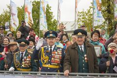 Seniors at the victory day parade Russia 2017