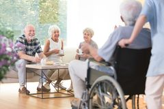 Free Seniors Visiting Their Friend Royalty Free Stock Photography - 101258447