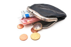 Seniors wallet with Euro currency. Debt and poverty Royalty Free Stock Photo