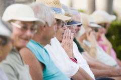 Seniors watching a game Royalty Free Stock Photography
