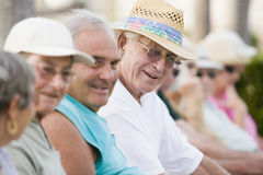 Seniors watching a game royalty free stock photos