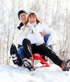 Seniors in winter park Stock Photography