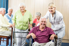 Free Seniors With Wheelchair And Walking Aid Royalty Free Stock Images - 77686529