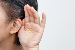 Seniors woman hearing loss , Hard of hearing. Isolate on white background Stock Photography