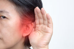 Seniors woman hearing loss , Hard of hearing Royalty Free Stock Photos