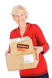 Seniors: Woman Ready To Ship Boxes Stock Photography
