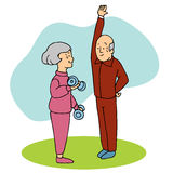 Seniors Working Out. An image of two seniors working out Royalty Free Stock Photos