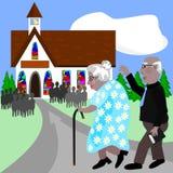 Seniory iść kościół ilustracja wektor