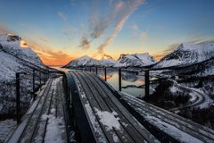 Senja Νορβηγία Bergsbotn Στοκ φωτογραφία με δικαίωμα ελεύθερης χρήσης