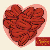 Senjed Dried and forming Heart Shape for Nowruz, Vector Illustration Stock Photography