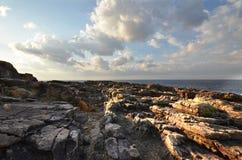 Senjojiki风景白滨位于 免版税库存图片