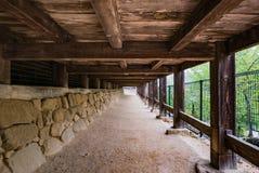 Senjokaku & x28;Toyokuni Shrine& x29; on Miyajima Island. Miyajima, Japan - May 6, 2016: Walk way under Senjokaku & x28;Toyokuni Shrine& x29; on Miyajima Island stock photos