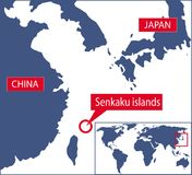 Senkaku map Royalty Free Stock Photography